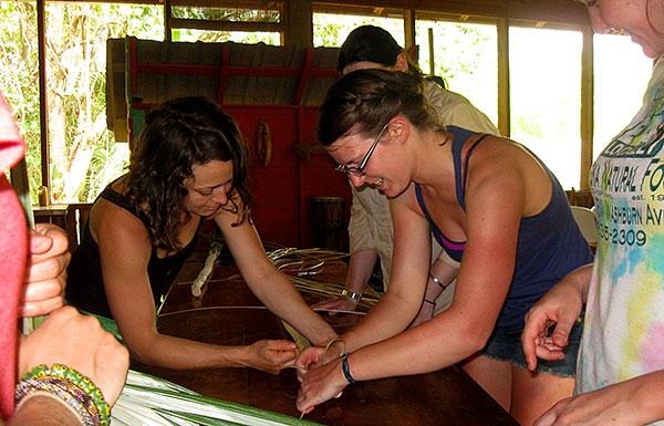 Study Abroad in Belize Students - Palm Workshop